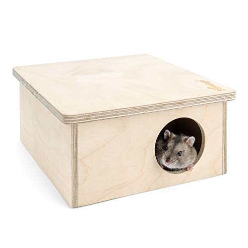Niteangel Hamster Birch Chamber Hideout - Small Pets Woodland House Habitats Decor for Hamster Mice Gerbils Mouse (2-Chamber Small)