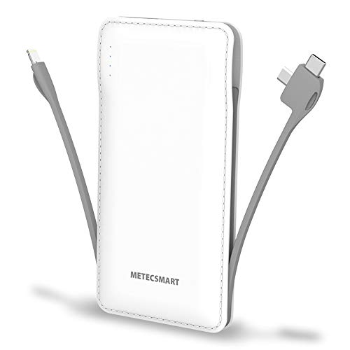 Portable Charger with Built in Cable, Metecsmart 10000mah Power Bank Portable Charger Type C USB C Cell Phone Thin Slim Lightweight Travel Tiny 5V Backup Battery Pack for iPhone Samsung Android iPad