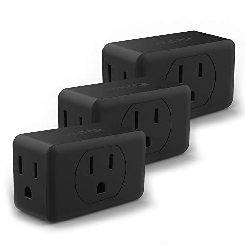 [3-pack]VINTAR 3-Outlet Adapter Wall Tap, Outlet Extender, Portable Travel Mini Plug Grounded Indoor AC Outlet, black,ETL Listed.