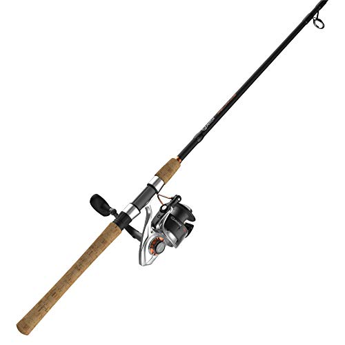 Quantum Reliance Spinning Reel and Fishing Rod Combo, 7-Foot 2-Inch 1-Piece Fishing Pole, Size 40 Reel, Changeable Right- or Left-Hand Retrieve, Graphite Rod with Cork Handle, Silver/Black