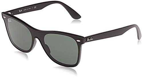 Ray-Ban Unisex-Adult RB4440N Blaze Wayfarer Sunglasses, Matte Black/Green, 41 mm