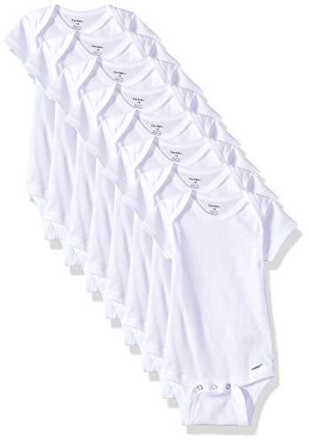 Gerber Baby 8-Pack Short Sleeve Onesies Bodysuits, Solid White, 18M