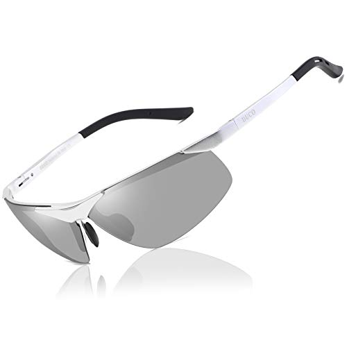 Duco Men's Sports Style Polarized Sunglasses Driver Glasses 6806S (Silver Frame Mirror Lens)