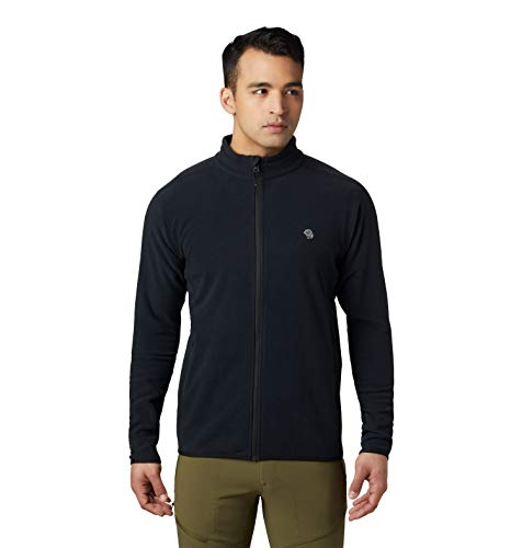 Mountain Hardwear Macrochill Full Zip Men's Classic Fleece Jacket for Hiking, Backpacking, Climbing, and Everyday - Black - Medium