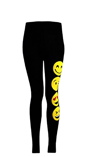 Girls Leggings Emoji Print Emoticon Faces Smile Faces Stretchy Pants Bottoms Co