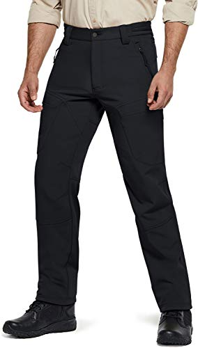 CQR Men's Winter Waterproof Softshell Tactical Hiking Cargo Pants, Outdoor Snow Ski Fishing Fleece Lined Insulated Pants, Softshell(hlp800) - Black, Small
