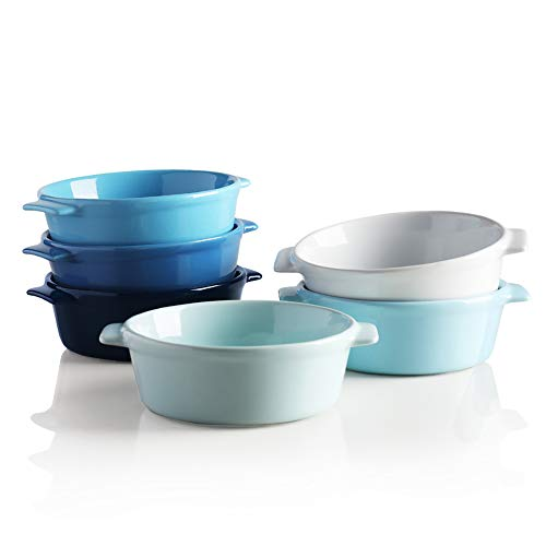 SWEEJAR Ceramic Souffle, Round Double Handle Ramekins, 10oz Creme Brulee, Custard Cheese and Dipping Sauce, Set of 6(Blue)