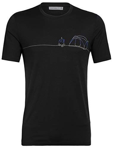 Icebreaker Merino Men's Tech Lite Short Sleeve Crewe Single Line Camp, Black, Small
