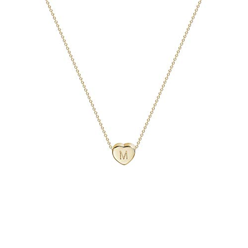 Tiny Gold Initial Heart Necklace-14K Gold Filled Handmade Dainty Personalized Letter Heart Choker Necklace Gift For Women Kids Child Necklace Jewelry Letter M
