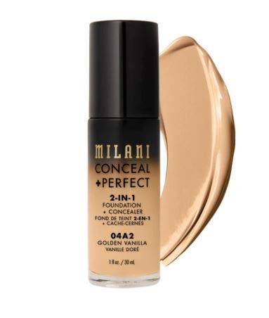 Milani Conceal + Perfect 2-in-1 Foundation + Concealer - Golden Vanilla (1 Fl. Oz.) Cruelty-Free Liquid Foundation - Cover Under-Eye Circles, Blemishes & Skin Discoloration for a Flawless Complexion