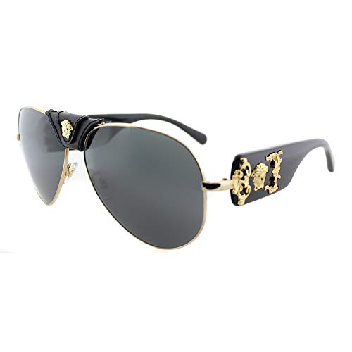 Versace VE2150Q - 100287 Gold/Black Aviator Sunglasses 62mm