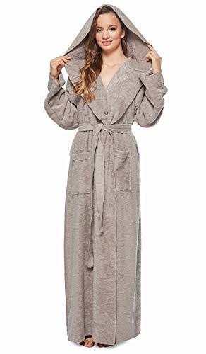 Arus Women's Princess Robe Ankle Long Hooded Silky Light Turkish Cotton Bathrobe Gray X-Large