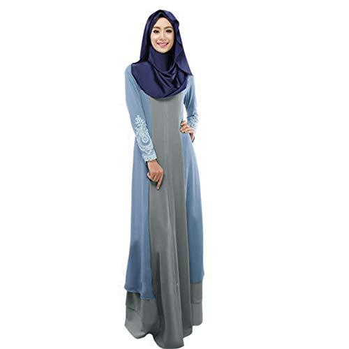 HIKO23 Muslim Dress for Women Elegant Kaftan Abaya Maxi Dresses Color Block Islamic Cocktail Long Sleeve Gown Light Blue