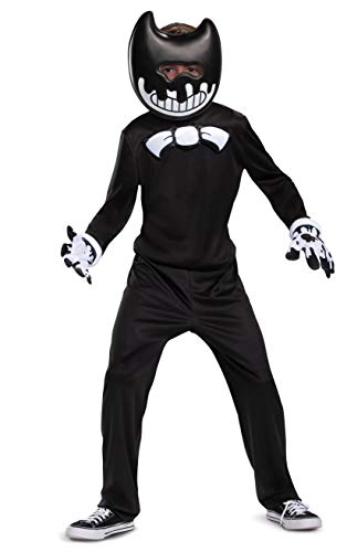 Ink Bendy Costume for Kids, Bendy and The Ink Machine Video Game Themed Character Jumpsuit, Classic Child Size Extra Large (14-16) Black
