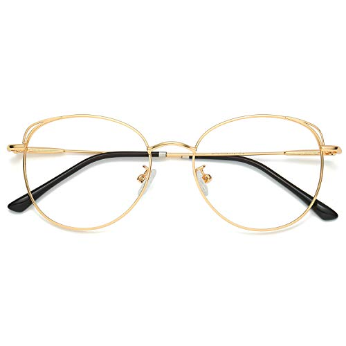 SOJOS Cat Eye Blue Light Blocking Glasses Hipster Metal Frame Women Eyeglasses She Young SJ5027 with Gold Frame/Anti-blue light Lens