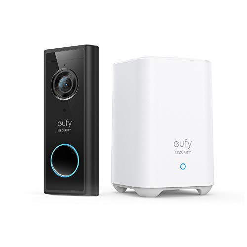 eufy Security, Video Doorbell (Battery-Powered) Kit, 2K Resolution, 180-Day Battery Life, Encrypted Local Storage, No Monthly Fees, HomeBase with High-Power Wi-Fi and Built-in Storage