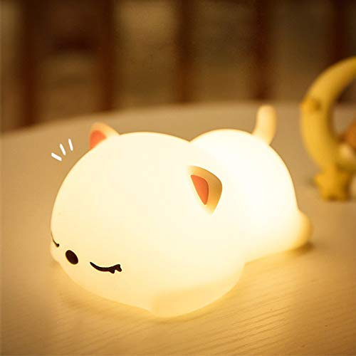 LED Nursery Night Lights for Kids,Cute Animal Silicone Baby Night Light with Touch Sensor - Portable and Rechargeable Infant or Toddler Cool Color Changing Bright Nightlight Lamp Baby Gift