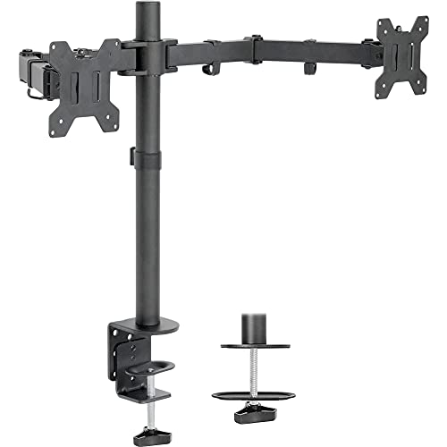 VIVO Dual LCD LED 13 to 27 inch Monitor Desk Mount Stand, Heavy Duty Fully Adjustable, Fits 2 Screens, STAND-V002