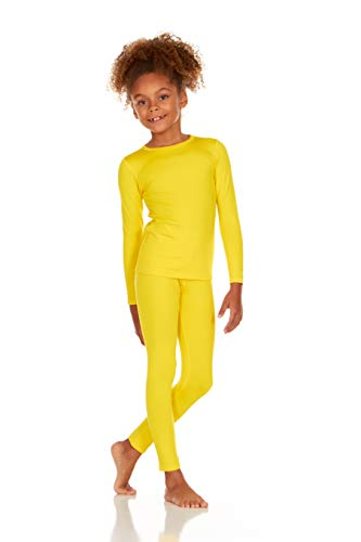 Thermajane Girl's Ultra Soft Thermal Underwear Long Johns Set with Fleece Lined (Yellow, Medium)