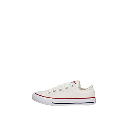 Converse Unisex-Child Chuck Taylor All Star Canvas Low Top Sneaker, Optical White, 2 M US Little Kid