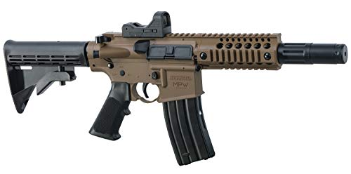 Bushmaster BMPWX Full Auto MPW CO2-Powered BB Air Rifle With Dual Action Capability And Red Dot Sight, Black/FDE