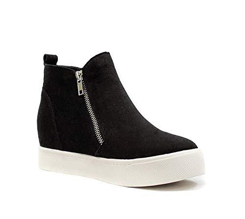 Soda Taylor Hidden Fahsion Wedge Sneaker Shoes Side Zipper,Black,7.5