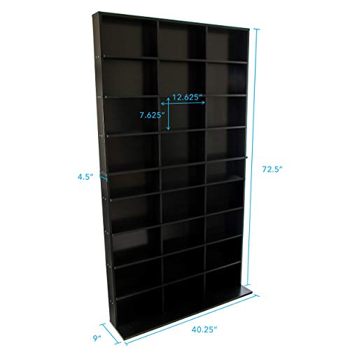 Atlantic Elite Media Storage Cabinet - New/Improved Tower, Stores 837 CDs, 630 Blu-Rays, 531 DVDs, 624 PS3/PS4 Games or 528 wii Games with 9 Fixed Shelves, PN38408117 in Black