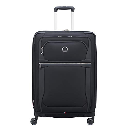 DELSEY Paris Executive Collection Softside Expandable Luggage with Spinner Wheels, Black, Checked-Medium 25 Inch