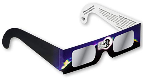 Rainbow Symphony Eclipse Glasses - ISO and CE Certified Safe Solar Eclipse Shades - Viewers and Filters - 25 Pack, Blue-black - Made in USA