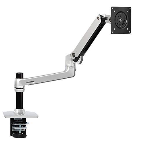 Amazon Basics Single Monitor Stand - Lift Engine Arm Mount, Aluminum - Silver