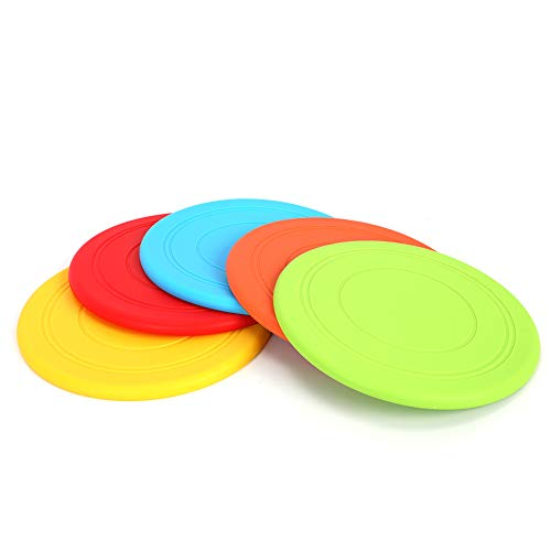 Soft Frisbee Flying Disc Dogs Training Interactive Toys for Small to Medium Dog Outdoor Sport, Lightweight Floating Saucer for Chihuahua Bulldog, 5 Pack Super Worth