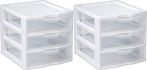 Sterilite Organizer Small 3 Drawer Unit, White Frame with Clear Drawers, 20738006 2-Pack