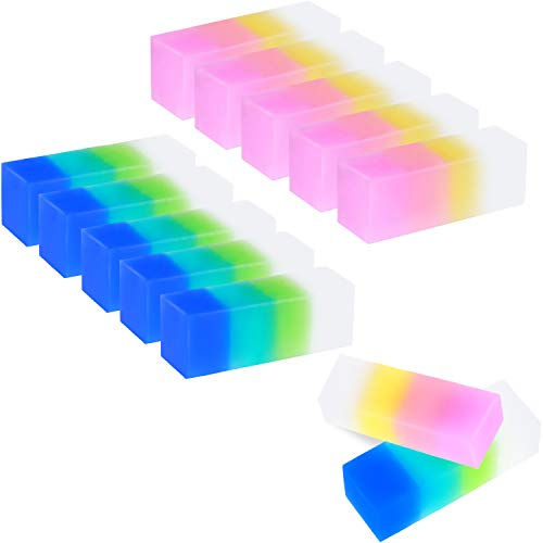 12 Pieces Colored Cube Pencil Erasers Soft Flexible Rubber Erasers Cute Gradient Erasers for School, Office, Kids (Style Set 1)