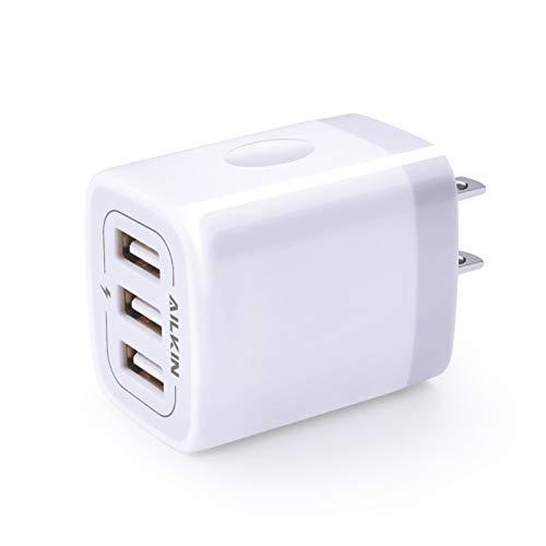 USB Charger Cube, Wall Charger Plug, AILKIN 3.1A 3-Muti Port USB Adapter Power Plug Charging Station Box Base for iPhone 12Po Max Mini SE 11 Pro Max/X/8/7/6S, iPad, Samsung Phones USB Charging Block