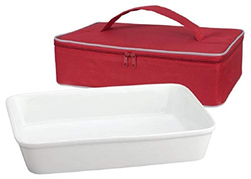 HIC 13' x 9' Rectangular Lasagna Pan Baking Roasting Dish, Fine White Porcelain, with Insulated Casserole Carrier Bag, Red, Zip-Up