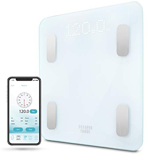 SHARPER IMAGE Digital Bathroom Scale, Tracks Weight, Body Fat & BMI, Bluetooth/Android & iOS App Compatible