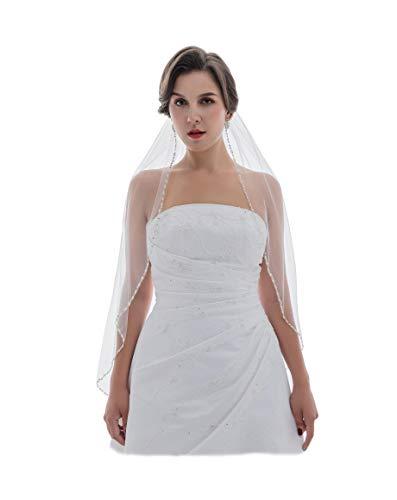 SAMKY 1T 1 Tier Crystal Pearls Beaded Edge Wedding Veil - Ivory Fingertip Length 36' V566