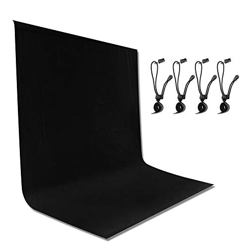 Emart 6 x 9 ft Photography Backdrop Background, Black Muslin Background Screen for Photo Video Studio, 4 x Backdrop Clip