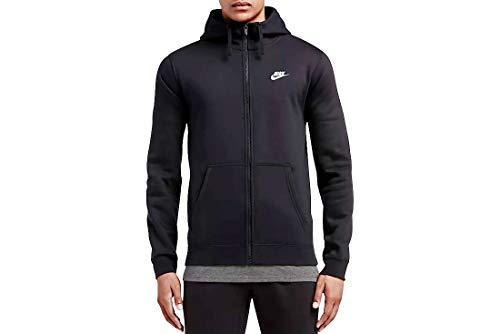 Men's Nike Sportswear Club Full Zip-Up Hoodie, Fleece Hoodie for Men with Paneled Hood, Black/Black/White, L