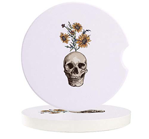 2 Piece Car Coasters Absorbent Skulls Ceramic Car Cup Holder Coaster to Keep Car Clean and Dry with Cork Base Car Coasters, Sunflowers and Skull Design Skeletons