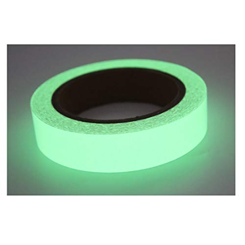 Blupure Glow in The Dark Tape - 1 Inchx30 FT - Halloween Glow Gaffer Duct Tape, Neon Fluorescent Glow Dark Tape for photoluminescent/Emergency Safety Egress Markers Stairs, Walls, Steps, exit Sign