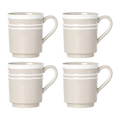 Kate Spade New York Sculpted Stripe Beige Mugs, Set of 4
