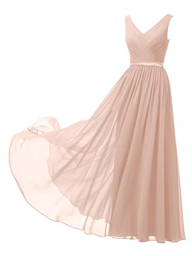 Alicepub V-Neck Chiffon Bridesmaid Dresses Long Plus Size Maxi Formal Dress for Women Party Evening Sleeveless, Pearl Pink, US22