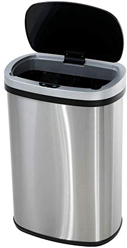 Touch Free Automatic Stainless Steel Trash Can Garbage Can Metal Trash Bin with Lid for Kitchen Living Room Office Bathroom, Electronic Touchless Motion Sensor Automatic Trash Can Silver 13 Gallon 50L
