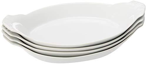 HIC Harold Import Co. Kitchen Oval Au Gratin Baking Dish Set, Fine White Porcelain, 10-Inch, Set of 4