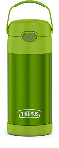 THERMOS FUNTAINER 12 Ounce Stainless Steel Vacuum Insulated Kids Straw Bottle, Lime