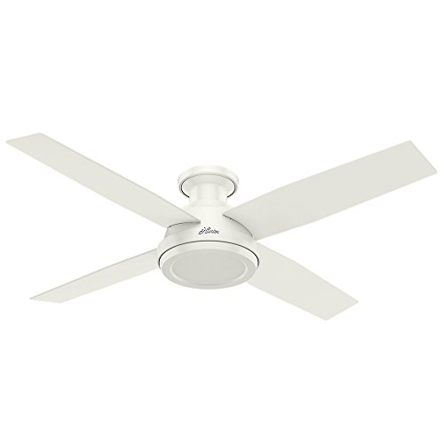 Hunter Fan Company 59248 Dempsey Low Profile Fresh White Ceiling Fan With Remote, 52'