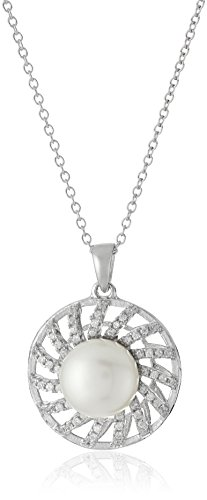 Bella Pearl Fancy Micropave Pearl Pendant Necklace, 17'