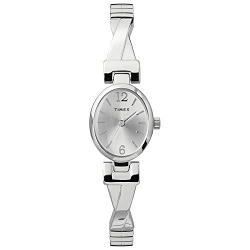 Timex Women's TW2U12200 Fashion Stretch Bangle 21mm Silver-Tone Expansion Band Watch