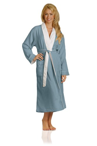 Luxury Spa Robe - Microfiber with Cotton Terry Lining, Aqua, Large